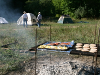 Breakfast while camping with Outrider Horseback Riding